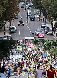 © Licensed to London News Pictures. 30/08/2020. London, UK. Comparison picture showing Ladbroke Grove during virtual carnival today (TOP) and the same scene in 2019 with carnival in full flow (BOTTOM). This year Carnival is being held virtually this year due to COVID-19 restrictions. Members of the public have been warned against congregating in the Notting Hill Area to celebrate the event. Photo credit: Ben Cawthra/LNP