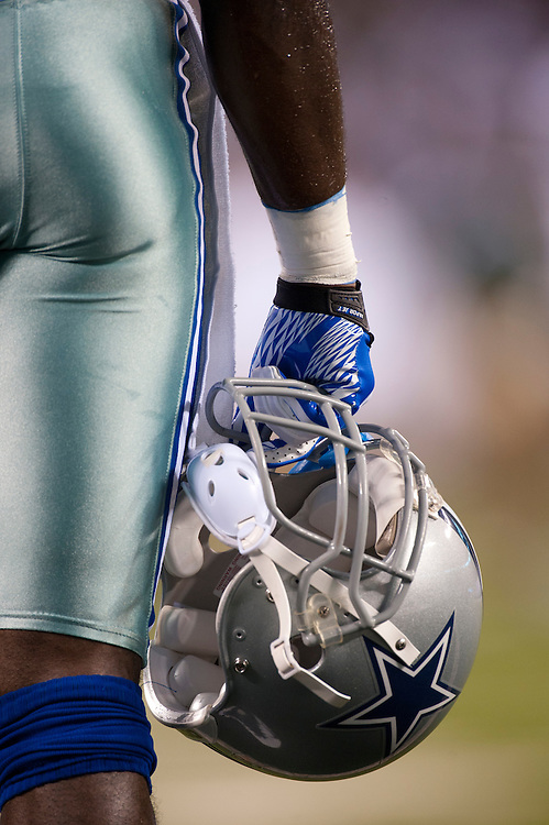 EAST RUTHERFORD, NJ - SEPTEMBER 11: A general view of a Dallas Cowboys helmet during the game against the New York Jets at MetLife Stadium on September 11, 2011 in East Rutherford, New Jersey. The Jets defeated the Cowboys 27 to 24. (Photo by Rob Tringali) *** Local Caption ***