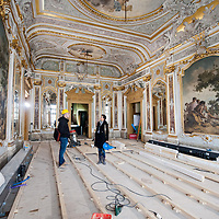 "Anna Scavezzon of ""Restauri Aperti"" and a member of the Claudio Rebeschini team  inspect restoration works at  at Palazzo Coccina Tiepolo Papadopoli. Several major restoration works are being carried out in this period in Venice, the go to a complete refurbishment of the famous Gritti Palace Hotel, to transformation into a luxury VIP 7 stars hotel of XV century Palazzo Papadopoli to the restoration of the Church of the Gesuiti"