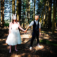 Damian and Lynn pose for a portrait after their wedding in Maple Ridge, British Columbia.