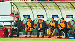 MOSCOW, RUSSIA - Thursday, November 8, 2012: Liverpool's manager Brendan Rodgers with his staff assistant manager Colin Pascoe, Under-18s coach Mike Marsh against FC Anji Makhachkala during the UEFA Europa League Group A match at the Lokomotiv Stadium. (Pic by David Rawcliffe/Propaganda)