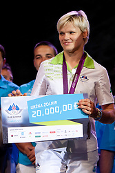 Urska Zolnir during reception of Slovenian Olympic Team at Kongresni Trg when they came back from London after Summer Olympic games 2012, on August 14, 2012 in Center of Ljubljana, Slovenia (Photo by Urban Urbanc / Sportida.com)