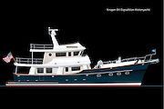 Vector rendering of the Kadey-Krogen 64 foot expedition series motoryacht.  The Krogen 64 is shown with a Blue hull.