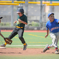062715       Cayla Nimmo<br /> <br /> Athletic's runner Kole Eriacho (12) steals second base before Ranger's player Mat Curly (10) can tag him out in the tournament game held at Ford Canyon Park in Gallup Saturday.