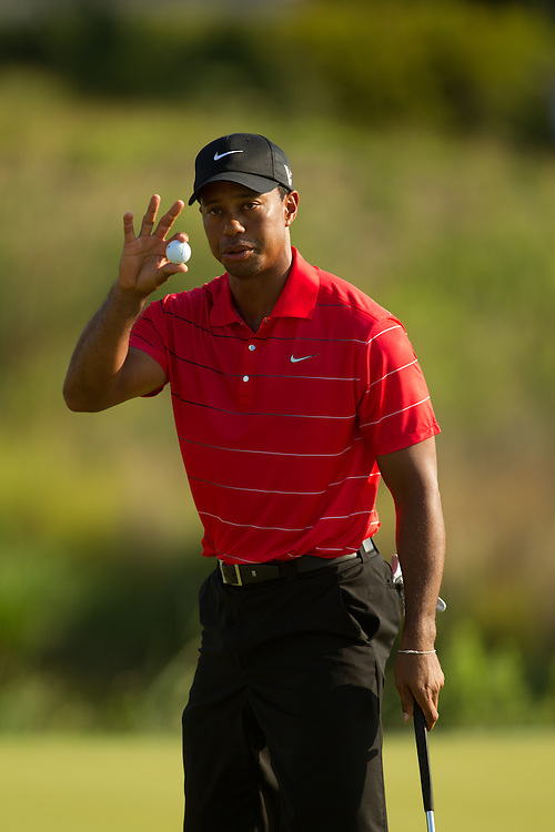 KIAWAH ISLAND, SC - AUGUST 12:  Tiger Woods acknowledges the gallery during the third round of the 2012 PGA Championship at The Ocean Course on Kiawah Island, South Carolina on August 12, 2012. (Photograph ©2012 Darren Carroll) *** Local Caption *** Tiger Woods