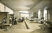 Crimean War 1853-1856: Florence Nightingale (1820-1910) British nurse and hospital reformer inspecting a ward in the military hospital  at Scutari.  From 'Illustrations of the War in the East', 1856. Russia France Turkey Britain Ottoman