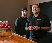Patrick Jaouen and Sam Conjerti Jr., co-owners of Mullers Cider House on University Avenue in Rochester on Friday, December 18, 2015.