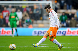 Blackpool Midfielder Tiago Gomes (POR) in action during the first half of the match - Photo mandatory by-line: Rogan Thomson/JMP - Tel: Mobile: 07966 386802 26/01/2013 - SPORT - FOOTBALL - Molineux Stadium - Wolverhampton. Wolverhampton Wonderers v Blackpool - npower Championship.