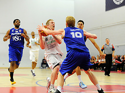 Bristol Academy Flyers' Mathias Seilund stops Plymouth Uni Raiders' Josh Wilcher  - Photo mandatory by-line: Joe Meredith/JMP - Mobile: 07966 386802 - 27/09/2014 - SPORT - Basketball - Bristol - SGS Wise Campus - Bristol Academy Flyers v Plymouth Uni Raiders - British Basketball League