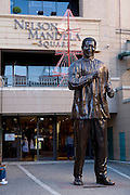 South Africa, Sandton, Johannesburg. A statue of Nelson Mandela at Nelson Mandela square