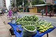 Fresh vegetables on sale on the side of a road in Dhaka, Bangladesh.