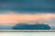 The cruise ship Costa Fortuna sailing in sea fog outside the Norwegian coast | Cruisebåten Costa Fortuna seiler i sjøtåke forbi Runde.