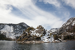 """Fannette Island, Lake Tahoe 2"" - Photograph of Fannette Island in Emerald Bay, Lake Tahoe. The ""Tea House"" can be seen on the top of the island."