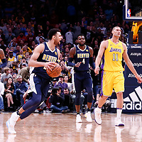 09 March 2018: Denver Nuggets guard Jamal Murray (27) celebrates during the Denver Nuggets125-116 victory over the Los Angeles Lakers, at the Pepsi Center, Denver, Colorado, USA.