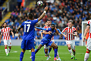 Stoke City striker Jonathan Walters (19) fouls Leicester City midfielder Wilfred Ndidi (25) during the Premier League match between Leicester City and Stoke City at the King Power Stadium, Leicester, England on 1 April 2017. Photo by Jon Hobley.