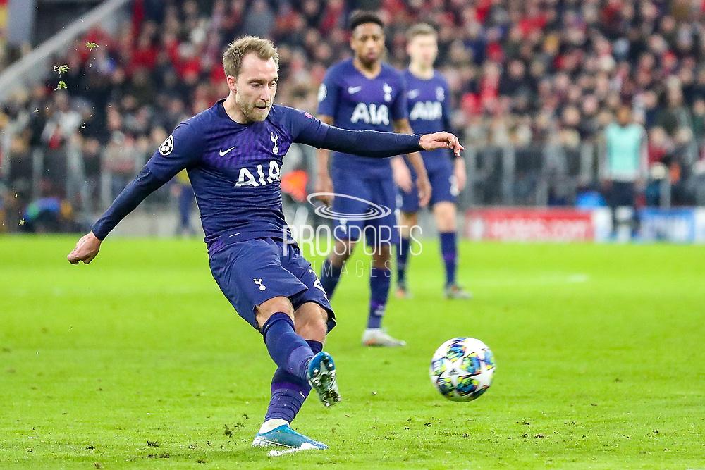 Tottenham Hotspur midfielder Christian Eriksen (23) takes a free kick during the Champions League match between Bayern Munich and Tottenham Hotspur at Allianz Arena, Munich, Germany on 11 December 2019.