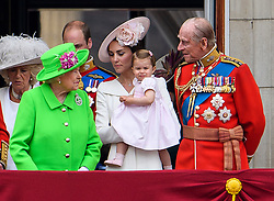 © Licensed to London News Pictures. 11/06/2016. London, UK. QUEEN ELIZABETH II, CATHERINE, DUCHESS OF CAMBRIDGE, PRINCESS CHARLOTTE and PRINCE PHILIP on the balcony of Buckingham Palace, during the Trooping The Colour ceremony in London. This years event is part of a weekend of celebration to mark the 90th birthday of Queen Elizabeth II, who is Britain's longest reigning monarch. Photo credit: Ben Cawthra/LNP