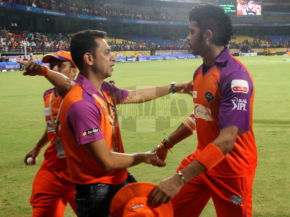 S. Srisanth is being congratulated by KTK suppoter for their victory in match 45 of the Indian Premier League ( IPL ) Season 4 between the Kochi Tuskers Kerala and the Kolkata Knight Riders held at the Kallor Jawaharlal Nehru International Stadium in Kochi, Kerala  India on the 5th May  2011..Photo by Prashant Bhoot/BCCI/SPORTZPICS
