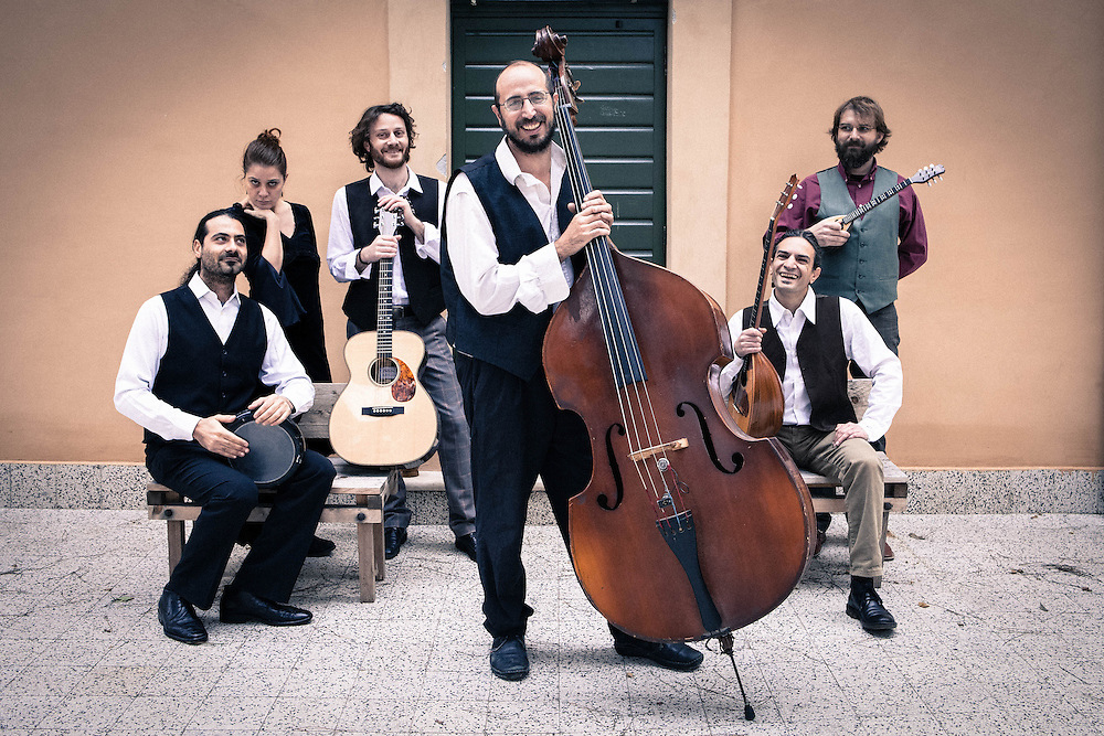 """Rome, Italy, January 10, 2014. Evi Evan, group of Rebetiko based in Italy portrayed for the launch of their latest album """"Rebetiki Diadromi."""" The production involve the participation of five special friends: Vinicio Capossela (voice), Sofia Lampropoulou (kanonaki), Nikos Nikolopoulos (oud), Moni Ovadia (vocals) and Daniele Sepe (sax)."""