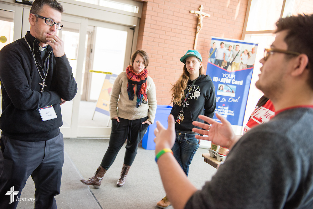 The Rev. Eric Andrae talks to LGBT supporters during the TABOO National LCMS Campus Ministry Conference on Wednesday, Jan. 7, 2015, at Saint Louis University in St. Louis. LCMS Communications/Erik M. Lunsford
