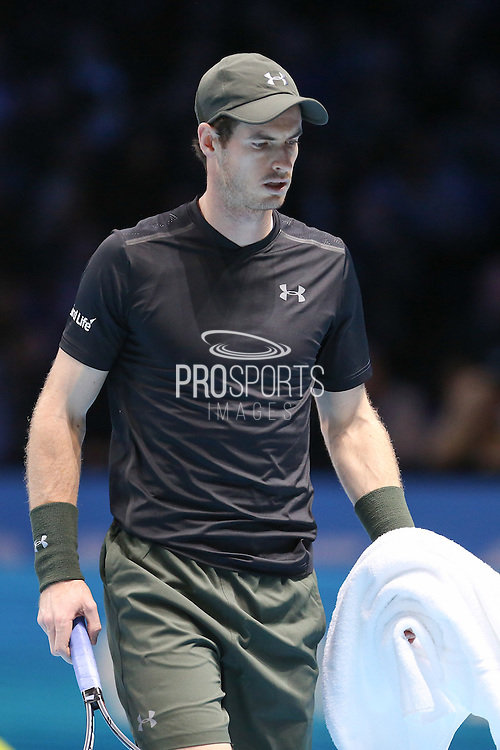 Andy Murray (Great Britain) takes a towel during the final of the Barclays ATP World Tour Finals at the O2 Arena, London, United Kingdom on 20 November 2016. Photo by Phil Duncan.