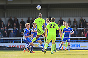Glen Kamara wins a header during the Sky Bet League 1 match between Rochdale and Southend United at Spotland, Rochdale, England on 25 March 2016. Photo by Daniel Youngs.