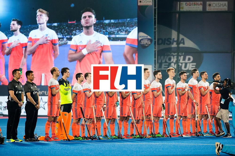 BHUBANESWAR - Oranje tijdens het volkslied voor de Hockey World League Final wedstrijd Nederland-Argentinie (3-3).  COPYRIGHT  KOEN SUYK