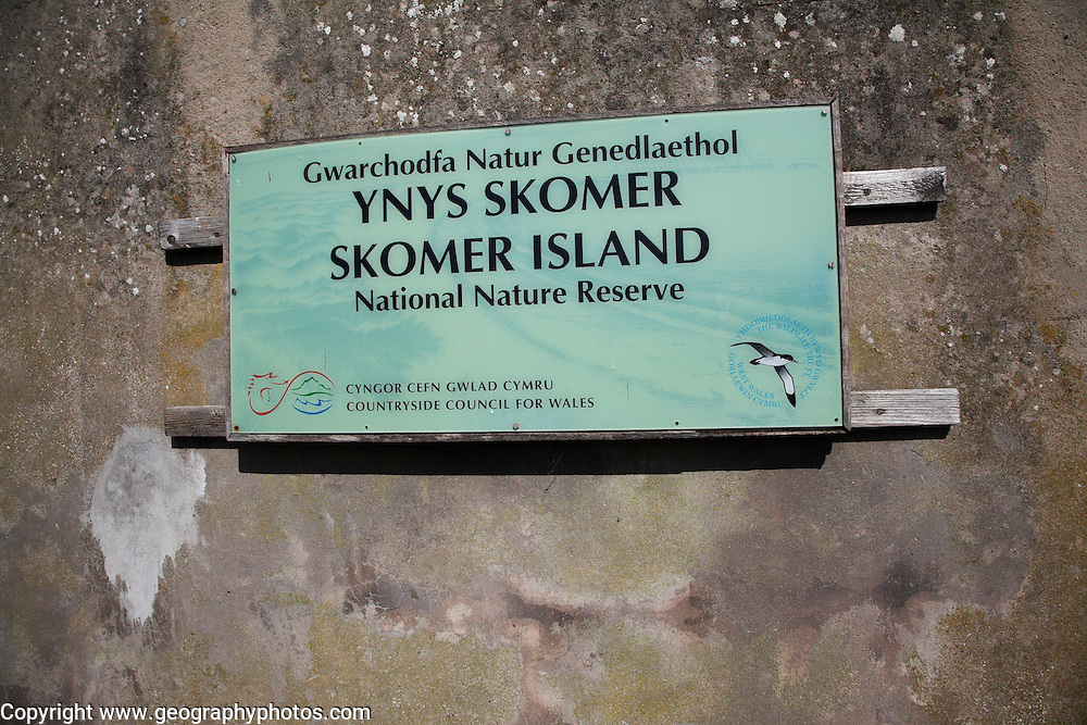 National nature reserve sign Skomer Island, Pembrokeshire, Wales