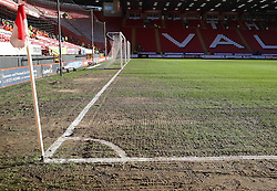 The state of the pitch causes concern at The Valley - Photo mandatory by-line: Robin White/JMP - Tel: Mobile: 07966 386802 11/01/2014 - SPORT - FOOTBALL - The Valley - Charlton - Charlton Athletic v Barnsley - Sky Bet Championship