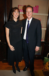 DAVID CAMERON MP leader of the Conservative party and his wife SAMANTHA CAMERON at a party to celebrate the 10th anniversary of the Smythson Fashion Diary and to the launch of the 2007 Limited Edition held at Smythson, New Bond Street, London on 25th October 2006.<br />