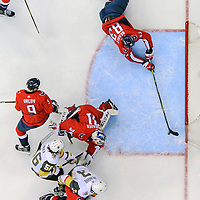 WASHINGTON, DC - FEBRUARY 04:  Washington Capitals center Jay Beagle (83) dives to stop a goal in the first period against Vegas Golden Knights left wing Erik Haula (56) on February 4, 2018, at the Capital One Arena in Washington, D.C. The Vegas Golden Knights defeated the Washington Capitals, 4-3.