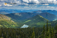 Looking down to Moose Lake in the Flathead National Forest, Montana, USA