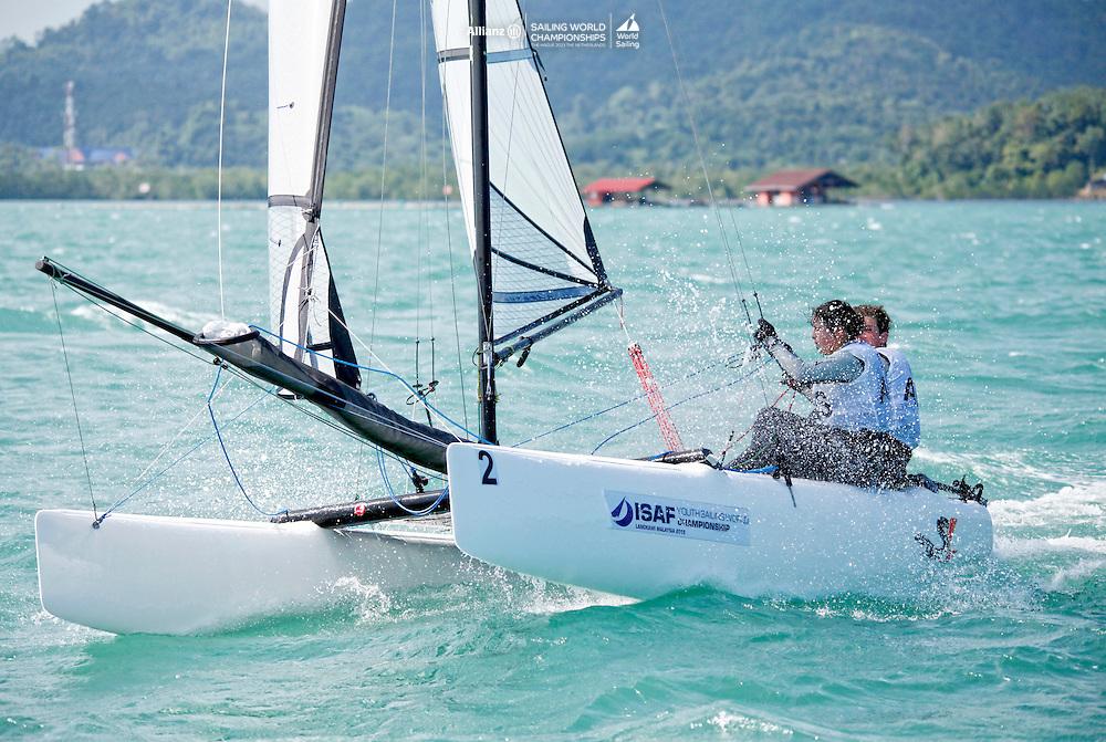 AustraliaSirena SL16OpenCrewAUSSR29SophieRenouf<br />AustraliaSirena SL16OpenHelmAUSSC40ShaunConnor<br />Day4, 2015 Youth Sailing World Championships,<br />Langkawi, Malaysia