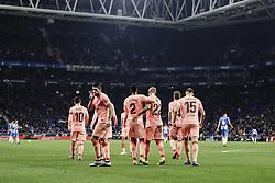 December 8, 2018 - Barcelona, Catalonia, Spain - 09 Luis Suarez of FC Barcelona celebrating his goal with his team during the Spanish championship La Liga football match between RCD Espanyol v FC Barcelona on December 08, 2018 at RCD Stadium stadium in Barcelona, Spain. (Credit Image: © Xavier Bonilla/NurPhoto via ZUMA Press)