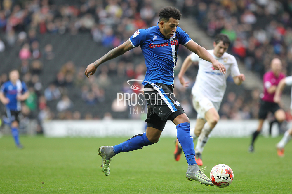 GOAL Nathaniel Mendez-Laing shoots and scores 1-2 during the EFL Sky Bet League 1 match between Milton Keynes Dons and Rochdale at stadium:mk, Milton Keynes, England on 11 March 2017. Photo by Daniel Youngs.