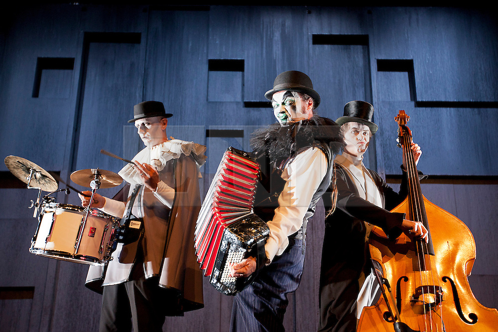 © Licensed to London News Pictures. 18/09/2012. LONDON, UK. Eccentric three piece band The Tiger Lillies, consisting of percussionist Adrian Huge (L), Martyn Jacques (C) and bass player Adrian Stout (R) appear at a press call for 'The Tiger Lillies perform Hamlet' at the Southbank Centre in London today (18/09/12). Directed by Martin Tulinius, the show runs from 18th September - 21st September at the South Banks's Queen Elizabeth Hall. Photo credit: Matt Cetti-Roberts/LNP