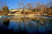 Deep Eddy Pool in Austin Texas, December 29, 2008.  Deep Eddy Pool is the oldest swimming pool in Texas and features a bathhouse built by the Works Progress Administration in the 1930s.