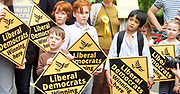 Nick Clegg unveils a new,  poster attacking Theresa May&rsquo;s decision to scrap free school lunches and replace them breakfasts costed at just 7p each. <br /> 31st May 2017 <br /> Geraldine Mary Harmsworth Park, London, Great Britain <br /> <br /> children watch Nick Clegg <br /> former leader of the Liberal Democrats <br /> stump speech <br /> <br /> Photograph by Elliott Franks <br /> Image licensed to Elliott Franks Photography Services