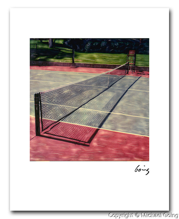 Tennis Court 8x10 signed archival pigment print free shipping USA. Hand altered Polaroid SX 70 photograph. Printed to order and individually hand signed.