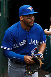 OAKLAND, CA - JULY 23:  Devon Travis #29 of the Toronto Blue Jays enters the dugout before the game against the Oakland Athletics at O.co Coliseum on July 23, 2015 in Oakland, California. The Toronto Blue Jays defeated the Oakland Athletics 5-2. (Photo by Jason O. Watson/Getty Images) *** Local Caption *** Devon Travis