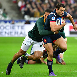(R-L) Nans Ducuing of France is tackled by Courtnall Skosan of South Africa during the test match between France and South Africa at Stade de France on November 18, 2017 in Paris, France. (Photo by Dave Winter/Icon Sport)