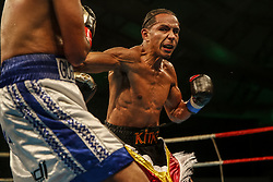 March 22, 2019 - Miami, Florida, USA - Undefeated welterweight contender HAROLD CALDERON improved his record to 19-0 with 13 knockouts in the main event of M&R Boxing Promotions Fight Night at the Miccosukee Resort and Gaming Dome with a knockout of Nicaraguan CARLOS WINSTON VELASQUEZ. (Credit Image: © Adam DelGiudice/ZUMA Wire)
