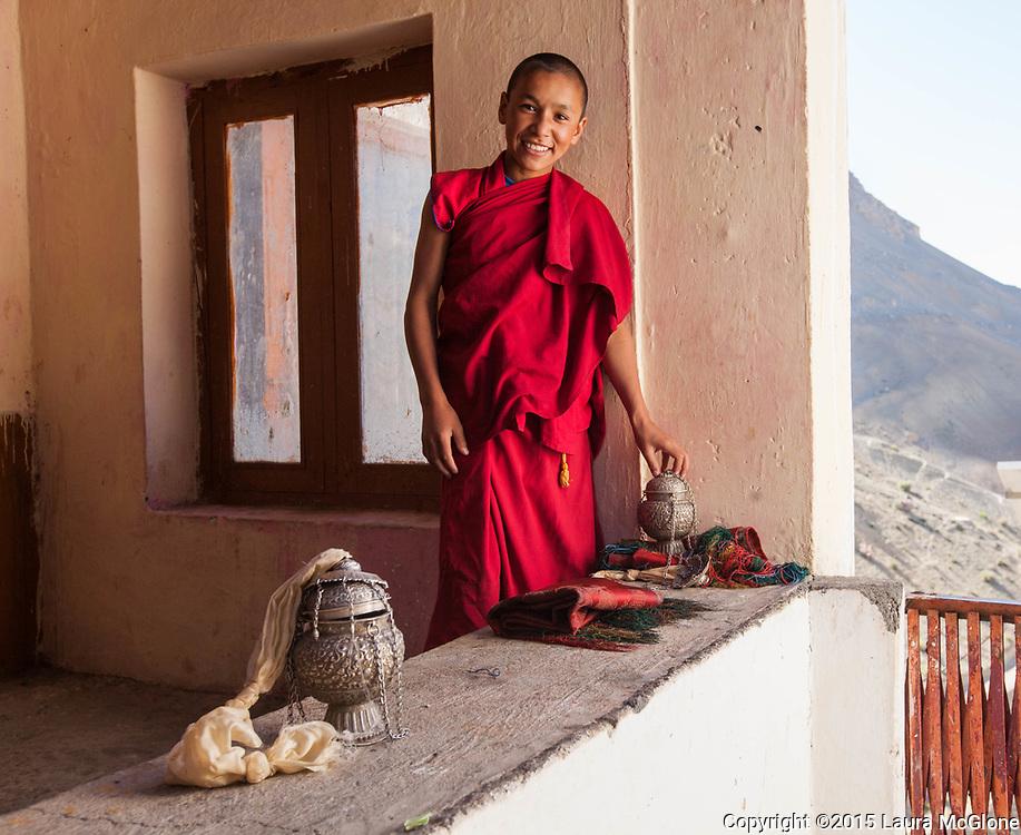 Novice Monk at Kye Tibetan Buddhist Monastery, Spiti Valley, India