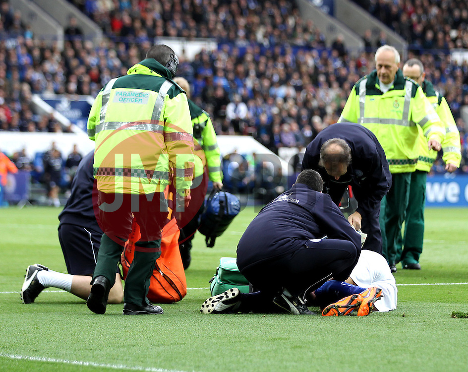 Leicester City's Matthew James receives medical attention - Photo mandatory by-line: Robbie Stephenson/JMP - Mobile: 07966 386802 - 09/05/2015 - SPORT - Football - Leicester - King Power Stadium - Leicester City v Southampton - Barclays Premier League