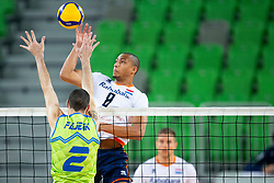 Alen Pajenk of Slovenia and Fabian Plak of the Netherlands during friendly volleyball match between National Men teams of Slovenia and Netherlands, on December 30, 2019, in Arena Stozice, Ljubljana, Slovenia. Photo by Sinisa Kanizaj / Sportida