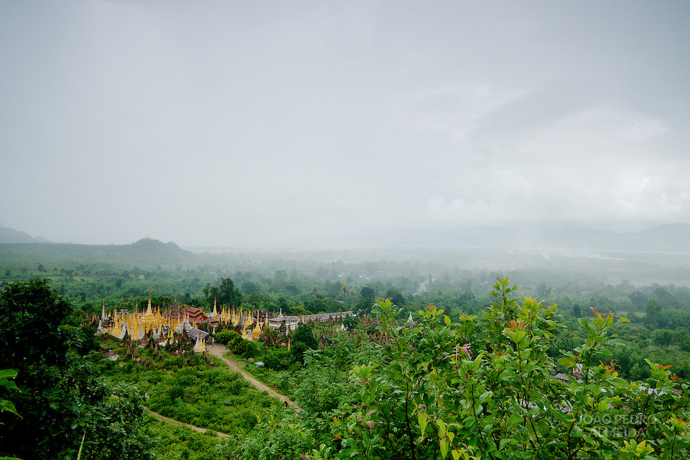 Temple at Inle lake region during minsoon rainfall