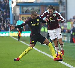 Fernandinho of Manchester City (L) tackles Jeff Hendrick of Burnley  - Mandatory by-line: Jack Phillips/JMP - 26/11/2016 - FOOTBALL - Turf Moor - Burnley, England - Burnley v Manchester City - Premier League