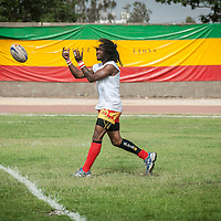 11/06/2013. Stade Iba Mar Diop Dakar, Senegal. Steeve Sargos, capitaine de l'équipe de rugby du Senegal s'échauffe avant de disputer premier match de la demi-finale de la Coupe d'Afrique des Nations B contre la Namibie. ©Sylvain Cherkaoui