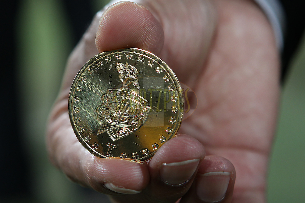 The match coin during match 47 of the Pepsi Indian Premier League between The Kolkata Knight Riders and the Rajasthan Royals held at the Eden Gardens Stadium in Kolkata on the 3rd May 2013..Photo by Ron Gaunt-IPL-SPORTZPICS  ..Use of this image is subject to the terms and conditions as outlined by the BCCI. These terms can be found by following this link:..http://www.sportzpics.co.za/image/I0000SoRagM2cIEc