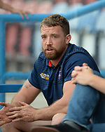 Danny Kirmond of Wakefield Trinity out injured watches the players warm up before the Betfred Super League match at the John Smiths Stadium, Huddersfield<br /> Picture by Richard Land/Focus Images Ltd +44 7713 507003<br /> 27/07/2018